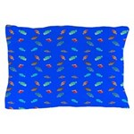 Scatter Wrasses pattern on blue Pillow Case