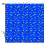 Scatter Wrasses pattern on blue Shower Curtain