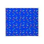 Scatter Wrasses pattern on blue Throw Blanket