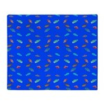 Scatter Wrasses pattern on blue Throw Blanket