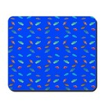 Scatter Wrasses pattern on blue Mousepad