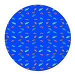 Scatter Wrasses pattern on blue Round Car Magnet