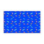 Scatter Wrasses pattern on blue Rectangle Car Magn
