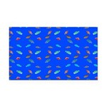Scatter Wrasses pattern on blue Rectangle Car Magn