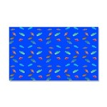 Scatter Wrasses pattern on blue Car Magnet 20 x 12
