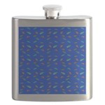 Scatter Wrasses pattern on blue Flask