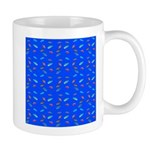Scatter Wrasses pattern on blue Mugs