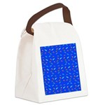 Scatter Wrasses pattern on blue Canvas Lunch Bag