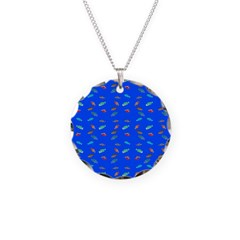 Scatter Wrasses pattern on blue Necklace