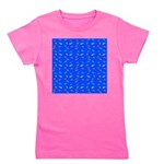Scatter Wrasses pattern on blue Girl's Tee