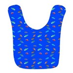 Scatter Wrasses pattern on blue Bib