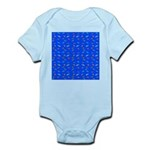 Scatter Wrasses pattern on blue Body Suit