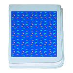 Scatter Wrasses pattern on blue baby blanket