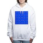 Scatter Wrasses pattern on blue Women's Hooded Swe