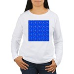 Scatter Wrasses pattern on blue Long Sleeve T-Shir