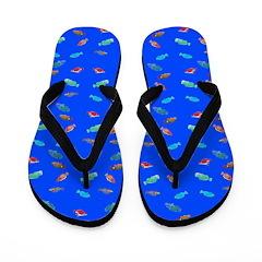 Scatter Wrasses pattern on blue Flip Flops