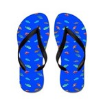 Scatter Wrasses pattern on blue Flip Flops