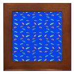 Scatter Wrasses pattern on blue Framed Tile