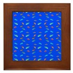 Scatter Wrasses pattern on blue Framed Tile