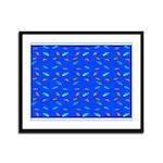 Scatter Wrasses pattern on blue Framed Panel Print