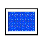 Scatter Wrasses pattern on blue Framed Panel Print
