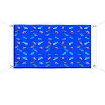 Scatter Wrasses pattern on blue Banner