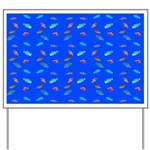 Scatter Wrasses pattern on blue Yard Sign