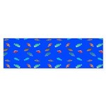 Scatter Wrasses pattern on blue Bumper Sticker