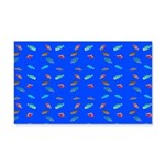 Scatter Wrasses pattern on blue Wall Decal