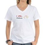 I Love Chickens Women's V-Neck T-Shirt