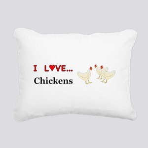 I Love Chickens Rectangular Canvas Pillow