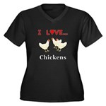 I Love Chick Women's Plus Size V-Neck Dark T-Shirt