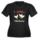 I Love Chick Women's Plus Size V-Neck Dark T-Shirt