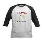 I Love Chickens Kids Baseball Jersey