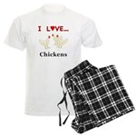 I Love Chickens Men's Light Pajamas