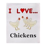 I Love Chickens Throw Blanket