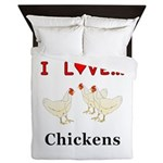 I Love Chickens Queen Duvet