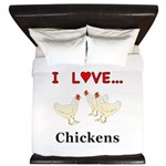 I Love Chickens King Duvet