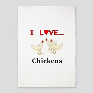 I Love Chickens 5'x7'Area Rug