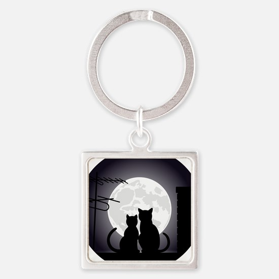 Two cats one moon Keychains