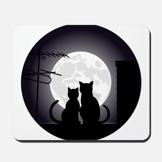 Two cats one moon Mousepad