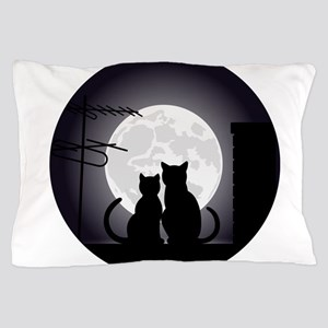 Two cats one moon Pillow Case