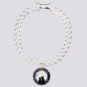 Two cats one moon Charm Bracelet, One Charm