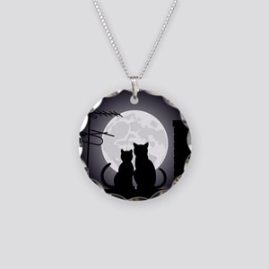 Two cats one moon Necklace Circle Charm