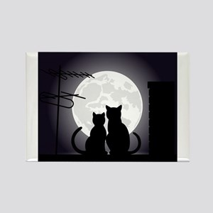 Two cats one moon Magnets