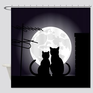 Two cats one moon Shower Curtain