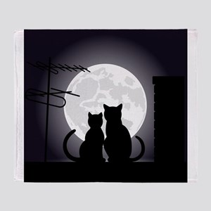 Two cats one moon Throw Blanket