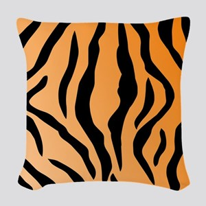 Faux Tiger Print Woven Throw Pillow