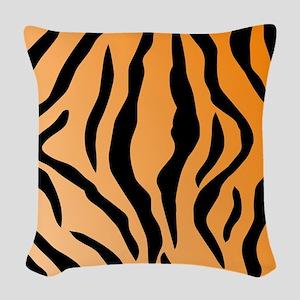 Faux Tiger Print Woven Throw Pillow