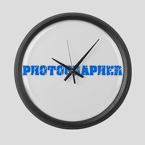 Photographer Blue Bold Design Large Wall Clock